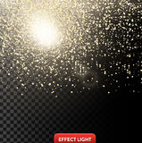 Vector illustration of a falling shiny golden glitters, confetti on a black background Royalty Free Stock Image
