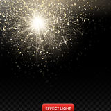 Vector illustration of a falling shiny golden glitters, confetti on a black background Royalty Free Stock Photo