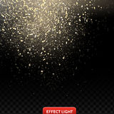 Vector illustration of a falling shiny golden glitters, confetti, sparks Royalty Free Stock Image