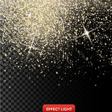 Vector illustration of a falling shiny golden glitters, confetti, sparks with light effect Stock Photo