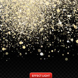 Vector illustration of a falling shiny golden glitters, confetti, sparks with light effect Royalty Free Stock Photo