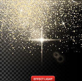 Vector illustration of a falling shiny golden glitters, confetti, sparks with light effect Royalty Free Stock Image