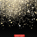 Vector illustration of a falling shiny golden glitters, confetti, sparks with light effect Royalty Free Stock Photography