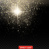 Vector illustration of a falling shiny golden glitters, confetti, sparks with light effect Stock Images