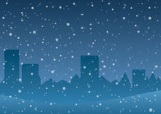 Vector illustration. Falling snow on the background of the city. Stock Photos