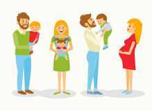 Vector illustration of a family. Father and mother and baby. The mother holds the baby in a sling, mother love, caring, kindness, warmth. A boy sits on hands at royalty free illustration