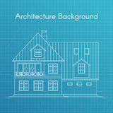 Vector illustration of family house or cottage. Architecture blueprint Stock Photo