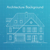 Vector illustration of family house or cottage. Architecture blueprint Royalty Free Stock Photo