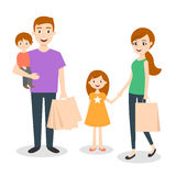 Vector illustration of family: mom, dad and son. Shopping bags. Family shopping with credit card. Royalty Free Stock Images