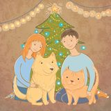 Vector illustration of a family near the Christmas tree Royalty Free Stock Images