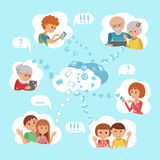 Vector illustration family online social media communication cloud service concept. Flat style vector illustration family online social media communication Royalty Free Stock Photos