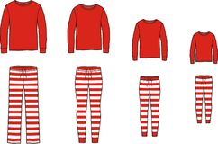Family pajamas suit. Jumper and striped pants stock photos