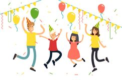 Vector illustration of family party on a white background. Funny children character with parents jumping with party hats. Confetti, balloons. Celebrating party Stock Image