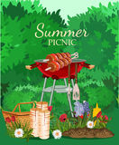 Vector illustration family picnic. Summer picnic in meadow with flowers Royalty Free Stock Image