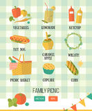 Illustration of family picnic. Summer, spring barbecue and picnic icons set. Flat style. Royalty Free Stock Photos
