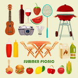 Vector illustration family picnic. Stock Photo