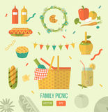 Family picnic glade illustration. Food and pastime icons. Flat. Barbecue object,  picnic items. Royalty Free Stock Photo