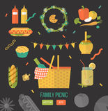 Vector illustration family picnic. Items for summer dinner, lunch for lovers. Stock Photography