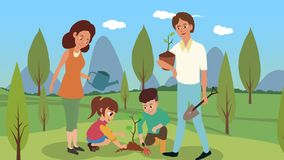 Vector illustration of a family planting trees royalty free illustration