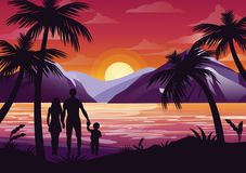 Vector illustration of family silhouette with mother, father and kid on the beach under the palm tree on sunset. Background and mountains in flat style vector illustration