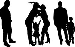 Vector illustration with family silhouettes. Royalty Free Stock Image