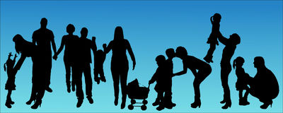 Vector illustration with family silhouettes. Royalty Free Stock Images