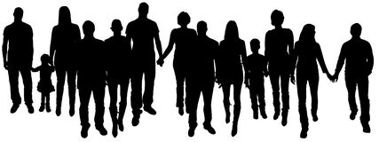Vector illustration with family silhouettes. Royalty Free Stock Photos