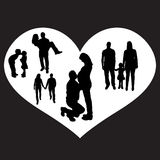 Vector illustration with family silhouettes. Royalty Free Stock Photography