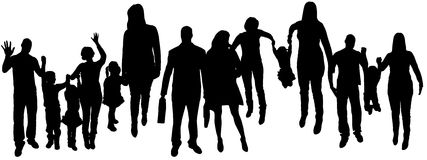Vector illustration with family silhouettes. Stock Photos