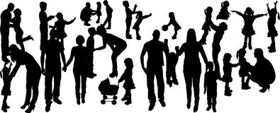vector illustration with family silhouettes. Stock Image
