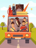 Vector illustration of family traveling by car in flat style. Vector illustration of happy family with pet traveling by car. Summer vacations, summer holiday Royalty Free Stock Images