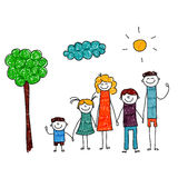 Vector illustration of family vacation. Royalty Free Stock Images