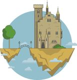 Vector illustration fantasy castle in the clouds stock illustration
