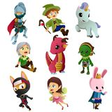 Fantasy Characters Icons Illustrations Royalty Free Stock Images