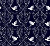 Vector illustration of fantasy nature branches and flying birds seamless pattern. Royalty Free Stock Images
