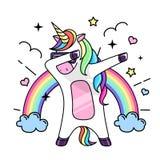 Vector illustration of fantasy dabbing horse unicorn. Flat style design stock illustration