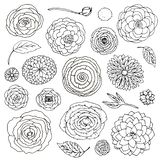 Vector illustration fantasy flower doodles set black and white. Elements isolated on white background vector illustration
