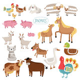 Vector illustration of farm animals. Cat, dog, cow, pig, duck and many other vector animals isolated on white background royalty free illustration