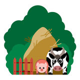 Vector illustration of farm animals and related items. Royalty Free Stock Photography