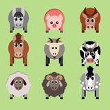 Vector illustration of farm animals and related items. Royalty Free Stock Image