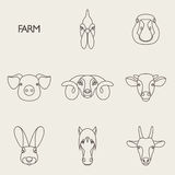 Vector illustration of farm animals with sample text Stock Photos