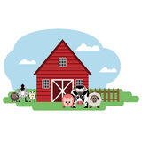 Vector illustration of farm. Cow, sheep, pig, horse, sheep, goat. royalty free stock photos