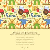 Vector illustration farm elements in doodle style. Vector illustration cute farm elements in doodle style with horizontal place for text Royalty Free Stock Images