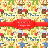 Vector illustration farm elements in doodle style. Vector illustration cute farm elements in doodle style with ribbon and label Royalty Free Stock Image