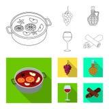 Vector illustration of farm and vineyard icon. Set of farm and product stock vector illustration. stock illustration
