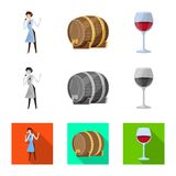 Vector design of farm and vineyard icon. Collection of farm and product stock symbol for web. Vector illustration of farm and vineyard symbol. Set of farm and royalty free illustration