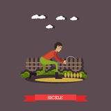 Vector illustration of farm worker with sickle in flat style. Vector illustration of farm worker reaping grain crops or cutting dried forage with sickle in flat Royalty Free Stock Image