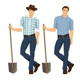 Vector illustration of farmer with shovel. Isolated on white background. Young man in blue jeans, shirt and hat vector illustration