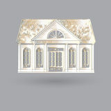 Vector illustration with  fascade old house on grey background Royalty Free Stock Photos
