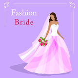 Vector illustration of a fashion beautiful bride in wedding dress and holding a bouquet Royalty Free Stock Images